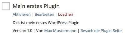 Abb. 2.1: Mein erstes WordPress Plugin