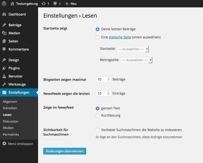 Abb. 1.5.d: Eingefelder werden durch die Settings API erstellt