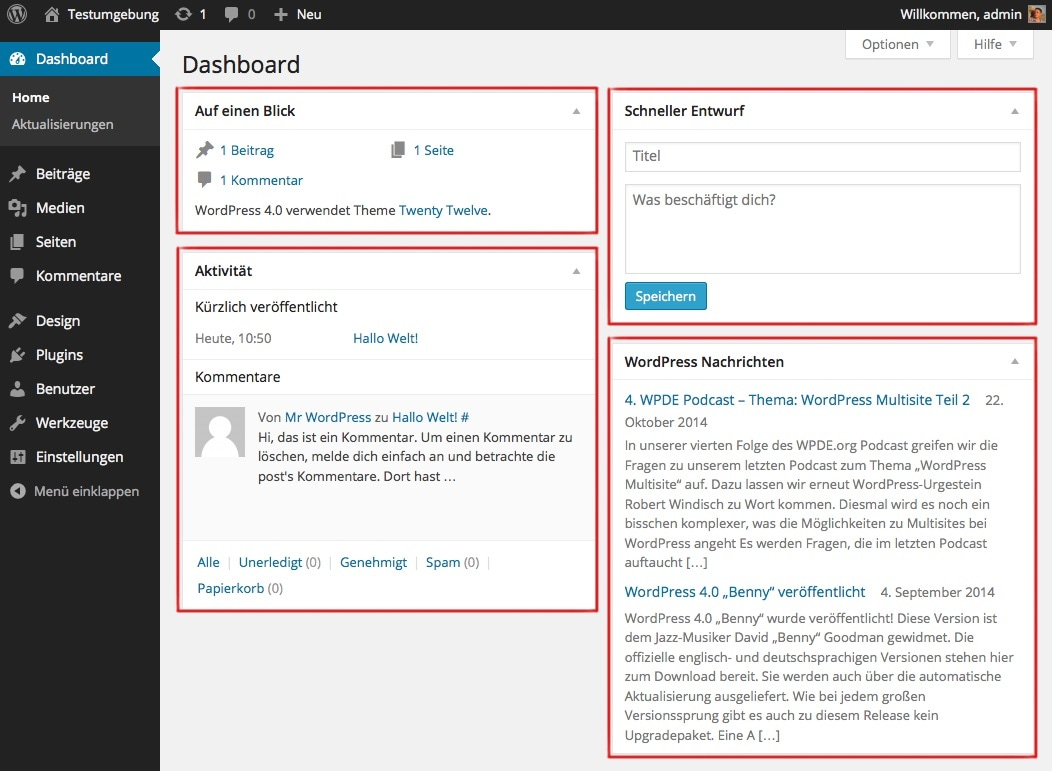 Abb. 1.5.: Dashboard Widgets sind rot markiert