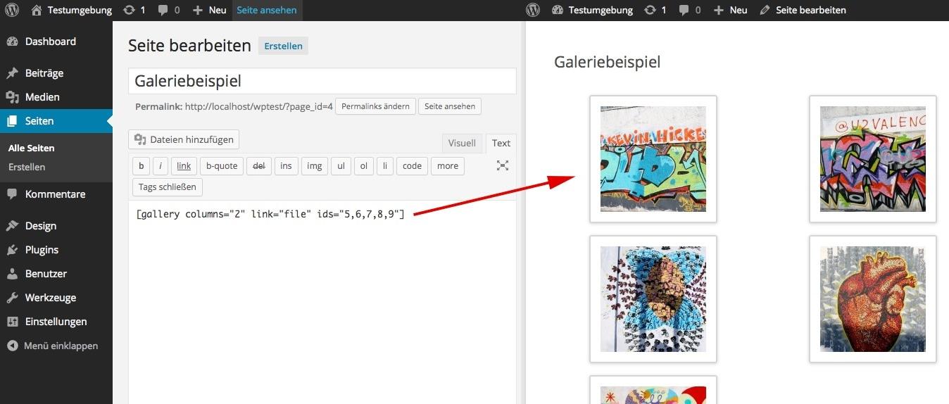 Abb. 1.5.e: Aus einem Shortcode im Editor (links) wird eine HTML-Galerie im Frontend (rechts).