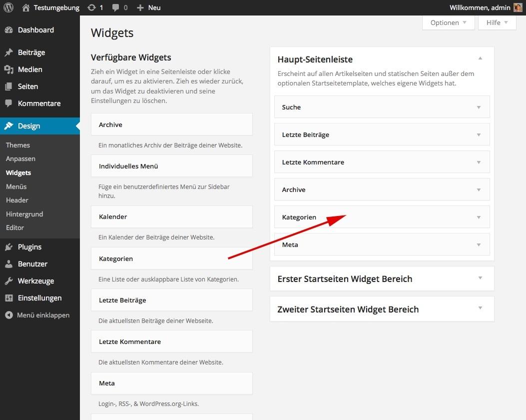 Abb. 1.5.h: Widgets können per Drag&Drop zu einer Seitenleiste hinzugefügt werden.