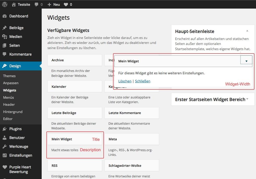 Abb.: Widget Title, Description und Width