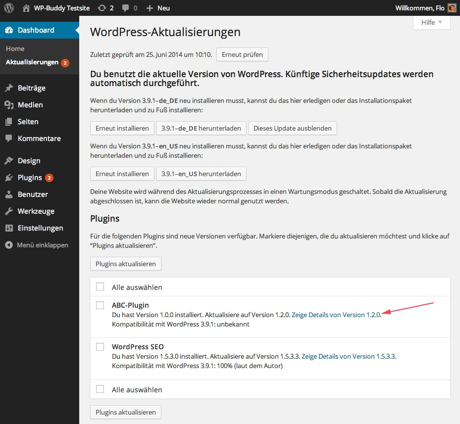 Abb.: WordPress zeigt Updates an