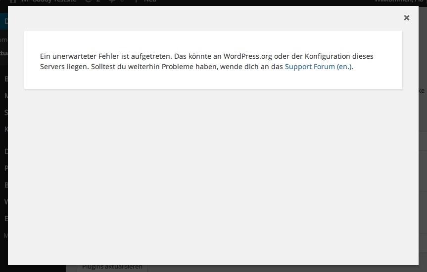 Abb.: WordPress zeigt eine Fehlermeldung