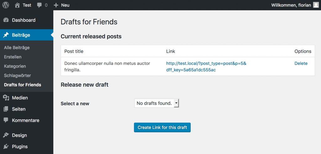 Der Bildschirm zeigt einen Eintrag im Drafts-For-Friends Plugin