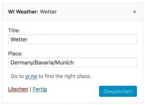 Ausgefülltes Formular des Wetter-Widgets