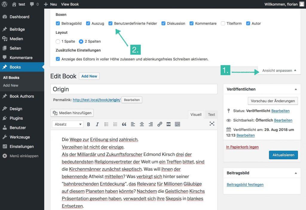 WordPress Dashboard mit Hinweis zum Anpassen der Ansicht