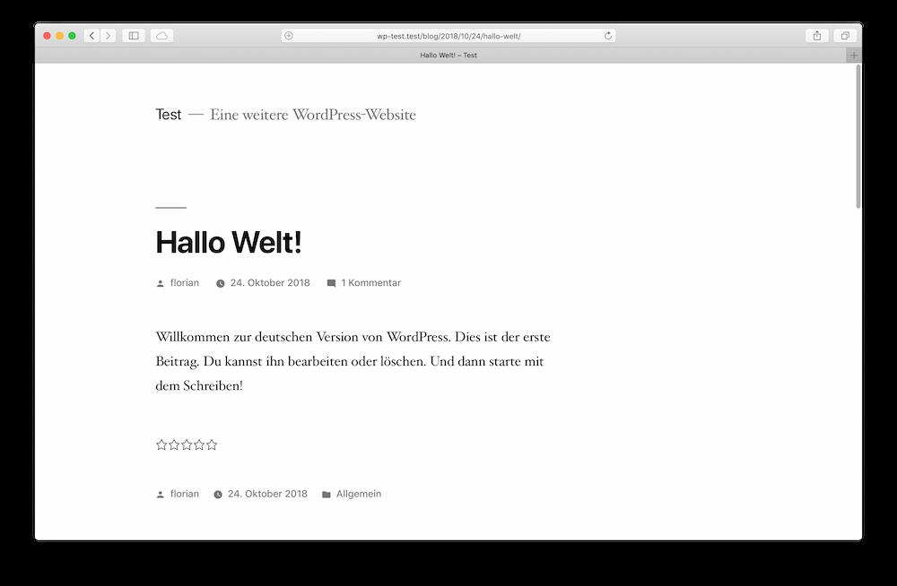 Ein Blogpost in WordPress mit Sterne-Bewertung.
