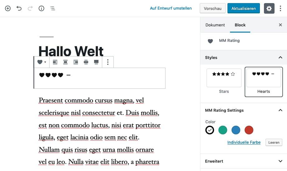 Verschiedene BlockStyles im Gutenberg-Editor.
