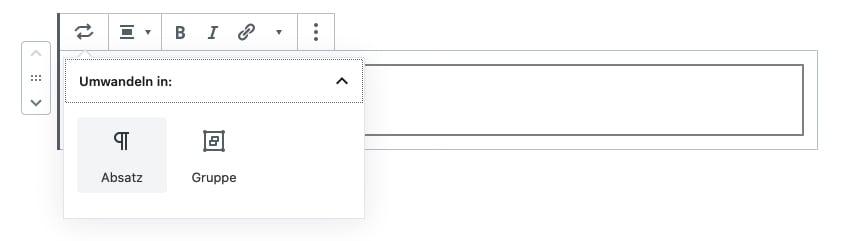 """Drop-Down """"Umwandeln in"""" zeigt den Absatz-Block als Möglichkeit."""